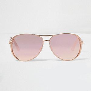 Lunettes de soleil aviateur couleur or rose à verres effet miroir