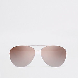 Lunettes de soleil aviateur façon or rose à verres effet miroir