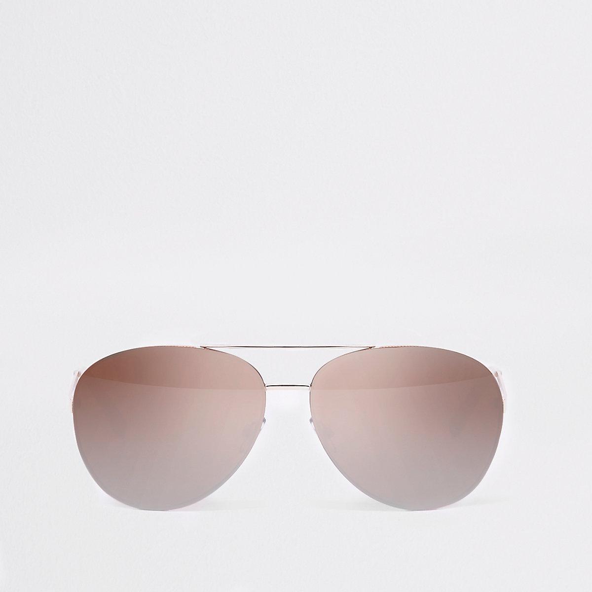 Rose gold tone aviator mirror lens sunglasses