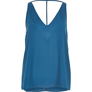 Turquoise blue T-bar cami top