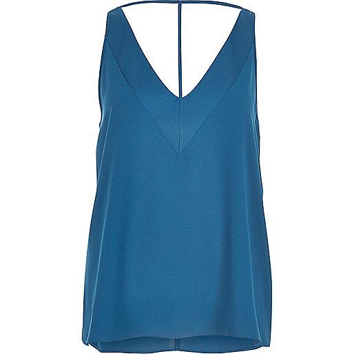 Caraco bleu turquoise à bretelles en T
