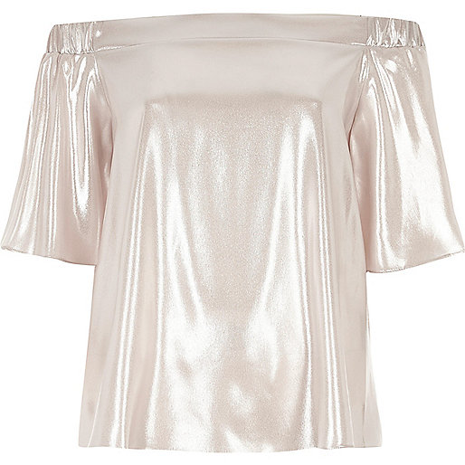 Metallic pink bardot top