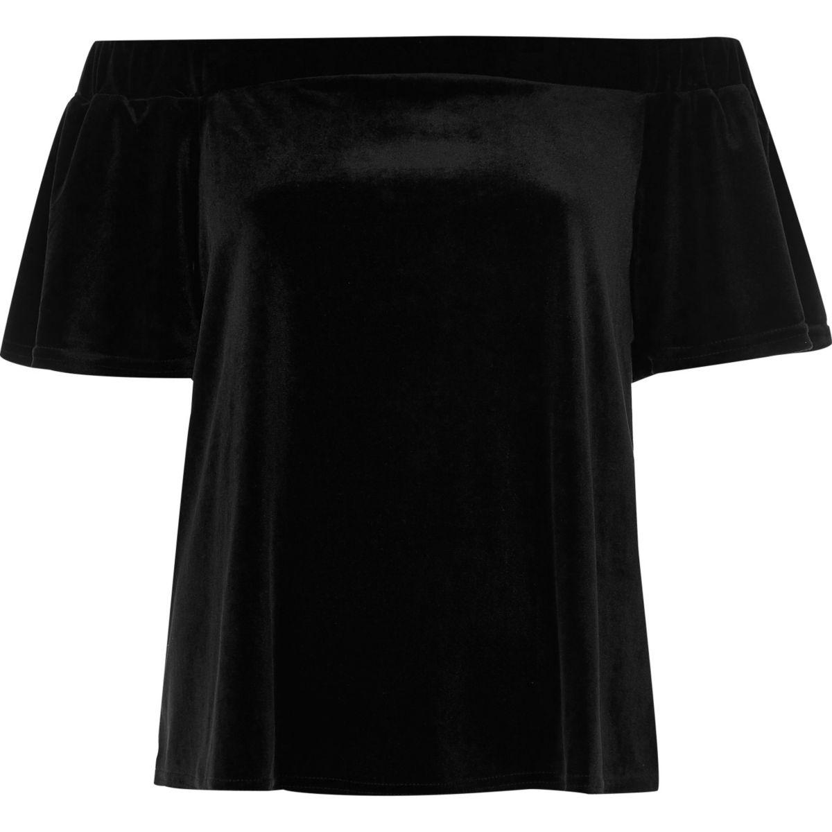 Schwarzes Bardot-Oberteil aus Samt