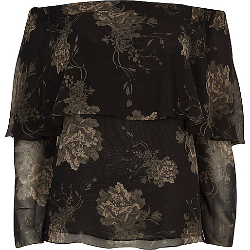 Black floral print deep frill bardot top