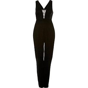 Black velvet deep plunge jumpsuit