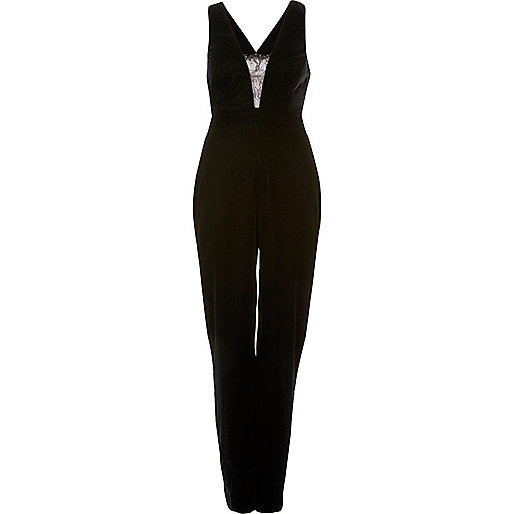 Black velvet deep plunge jumpsuit