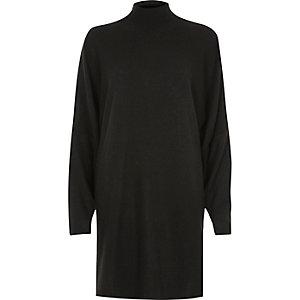 Schwarzes Oversized-Pulloverkleid mit Schulterschlitzen
