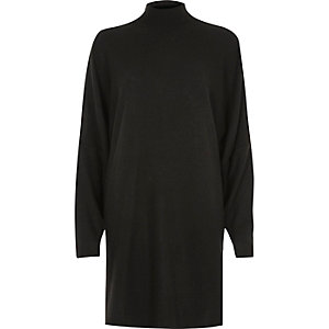 Black oversized split shoulder sweater dress