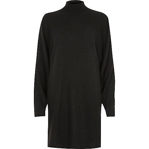 Black oversized split shoulder sweater dress