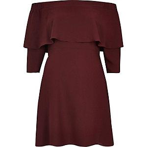 Burgundy bardot cape swing dress