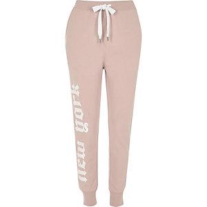 Pink word print joggers