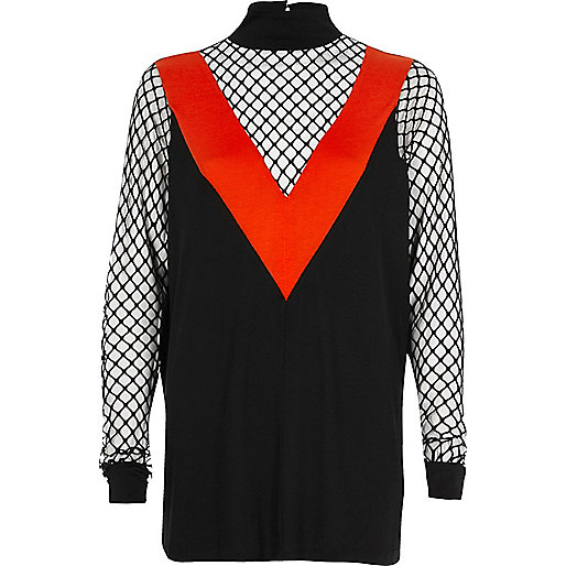 Black and red mesh turtleneck top