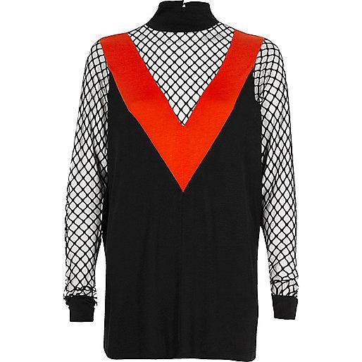 Zwart met rode top met col en mesh