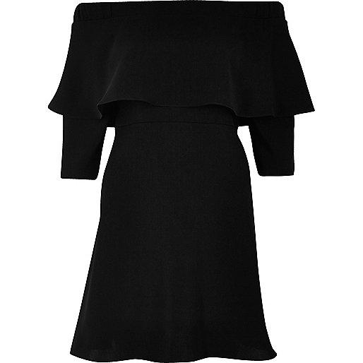 Black deep frill bardot swing dress