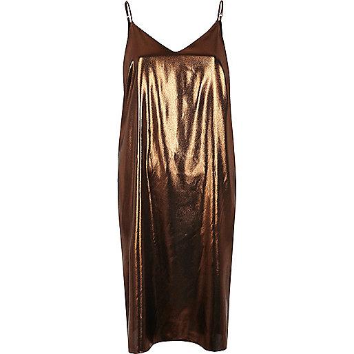 Robe mi-longue bronze