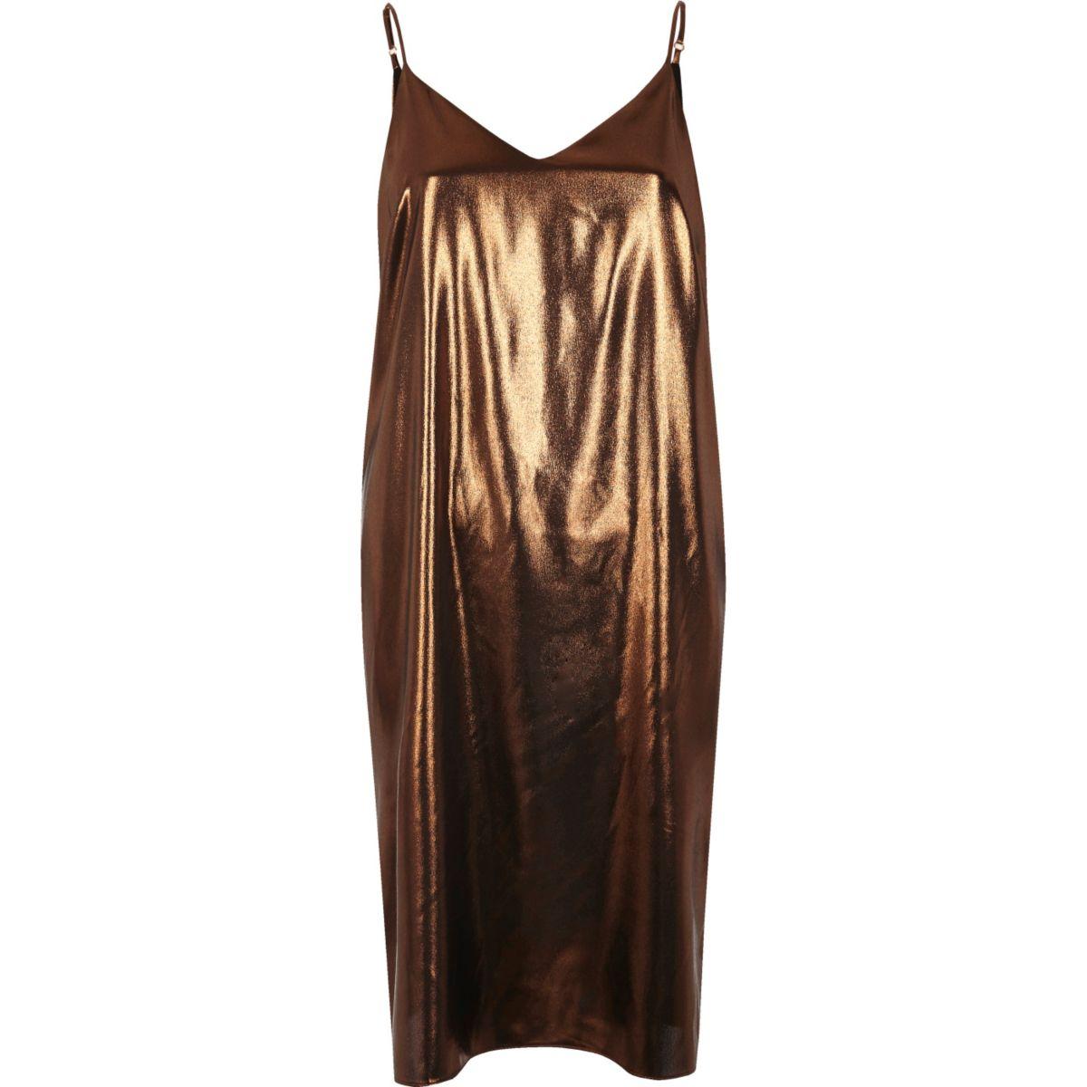 Bronze midi slip dress