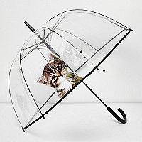 Parapluie transparent imprimé chaton