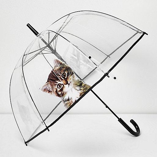 Transparenter Katzen-Regenschirm