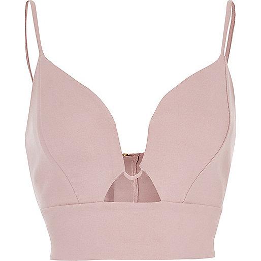 Blush pink plunge bralet