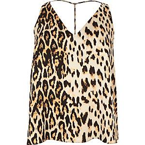 Plus leopard print T-bar cami top