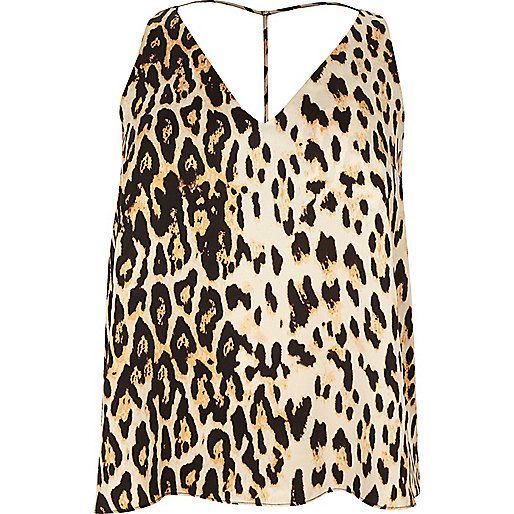 Plus leopard print T-bar cami top