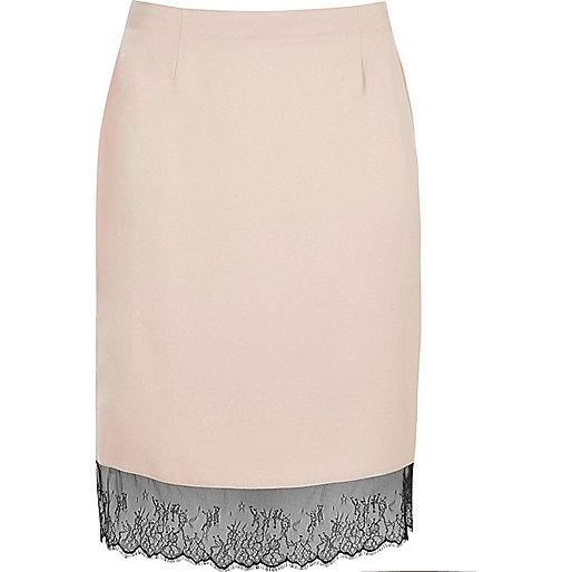 Plus blush pink lace hem midi skirt