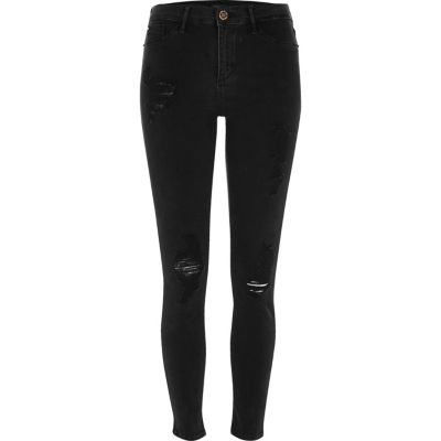 Molly Zwarte washed ripped jegging