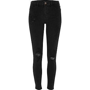 Molly - Zwarte washed ripped jegging