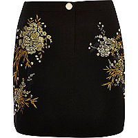 Black embroidered floral stud mini skirt