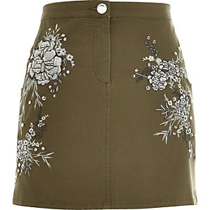 Khaki floral embroidered mini skirt