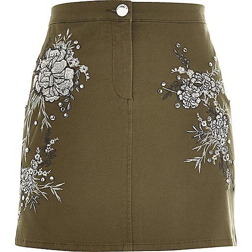 Khaki floral embroidered mini skirt