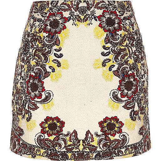 Cream floral print jacquard mini skirt