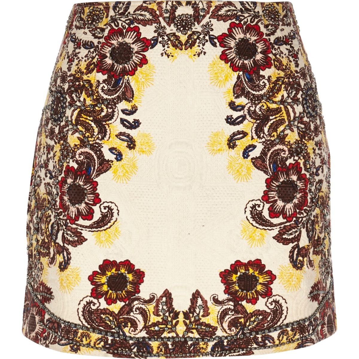 Cream floral print jacquard mini skirt