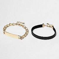 Lot de bracelets noirs et dorés