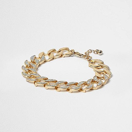 Bracelet doré à maillons pailletés
