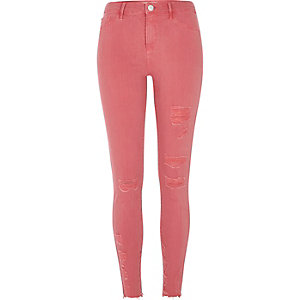 Molly – Rosa Skinny Fit Jeggings im Used-Look