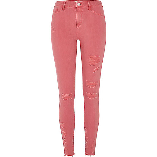 Pink ripped skinny fit Molly jeggings