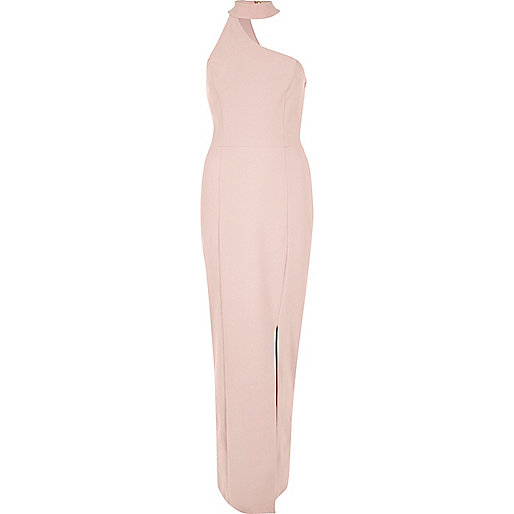 Nude pink one shoulder choker maxi dress