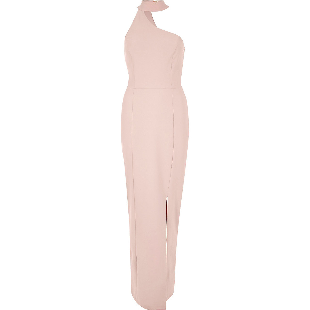 Nude Pink One Shoulder Choker Maxi Dress Maxi Dresses Dresses
