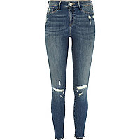 Mid blue wash ripped Molly jeggings
