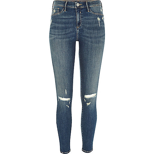 Molly – Jeggings in mittelblauer Waschung im Used-Look