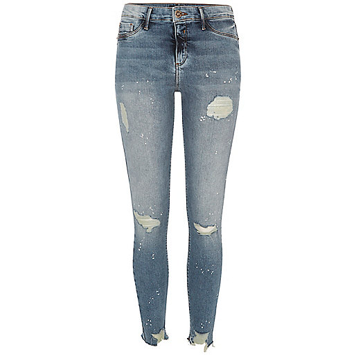 Molly authentic wash ripped jegging met verfspatten