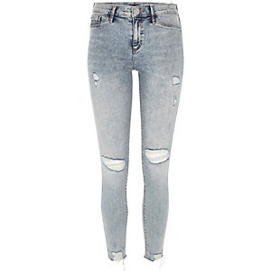 Light wash ripped Molly jegging