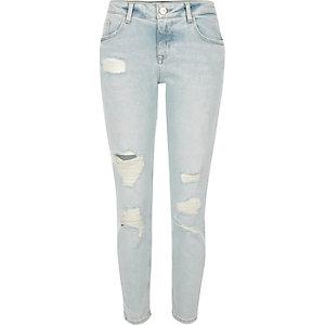 Alannah relaxte skinny jeans met lichtblauwe wassing