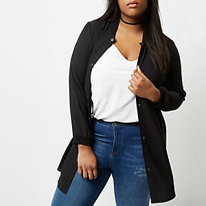 Plus black longline bomber jacket