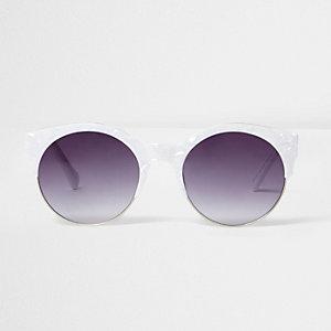 Witte zonnebril met marmerprint en rookglazen
