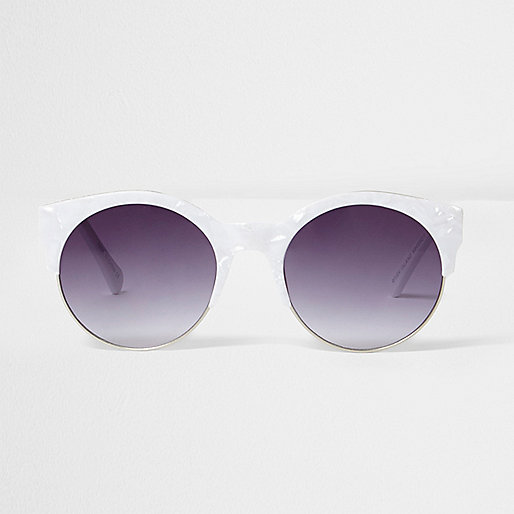 White marble print smoke lens sunglasses