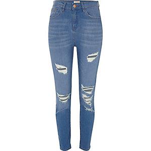 Lori – Blaue Skinny Jeans im Used-Look