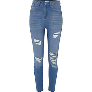 Lori blauwe wash ripped skinny jeans