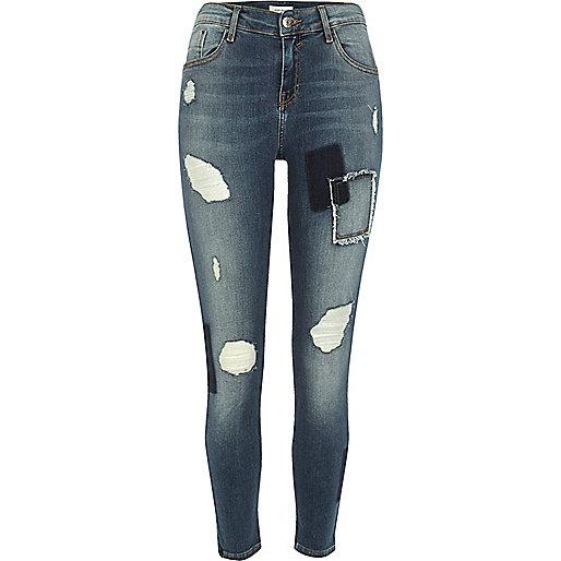 Medium blue patch Amelie super skinny jeans